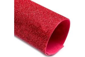 Фоамиран глиттер, красный, 21*30 см