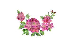 """Водорастворимый флизелин со схемой """"Розы"""", пришивной"""