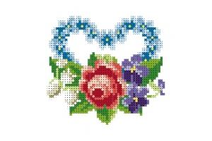 """Водорастворимый флизелин со схемой """"Букет цветов"""", пришивной"""
