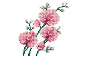 """Водорастворимый флизелин со схемой """"Орхидея"""", пришивной"""