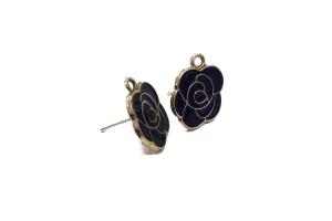 Фигурные швензы-гвоздики с черной эмалью, золото