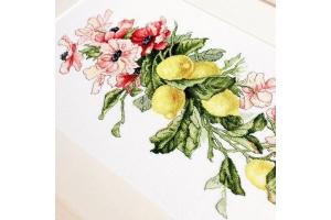 """Набор для вышивания нитками """"Цветы и лимоны"""""""