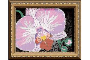 """Схема для вышивки бисером """"Орхидея на черном"""""""