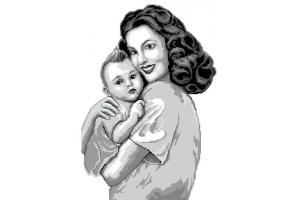"""Схема для вишивки бісером або нитками """"Мама з сином"""""""